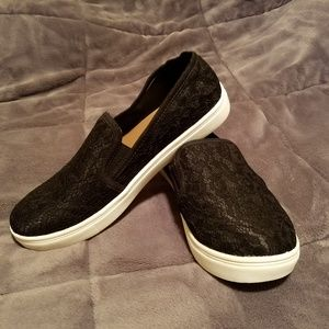 Black Lace Slip-on Sneakers!!